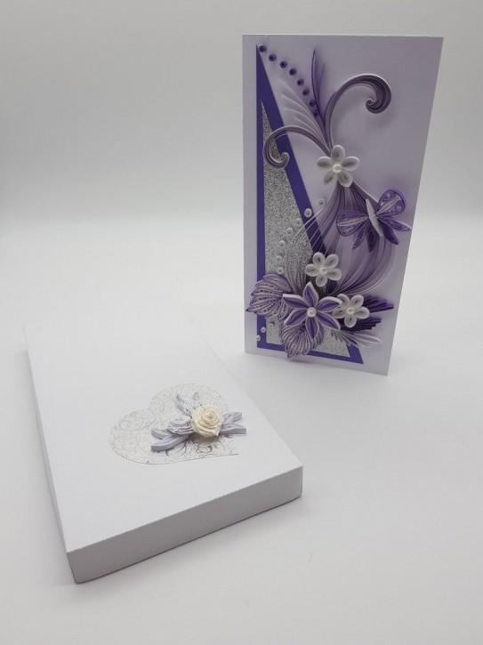 """Glückwunschkarte """"Purple Butterflyl""""  - Quilling"""