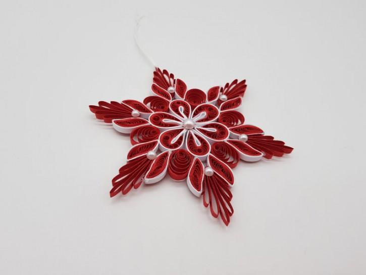"Ornament ""Schneeflocke No. 1"" (Rot/Weiß) - Quilling -"