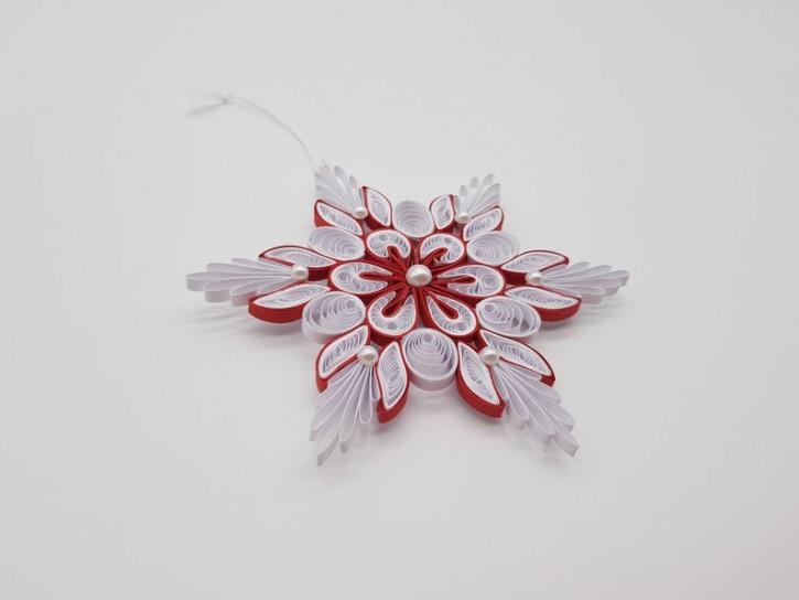 "Ornament ""Schneeflocke No. 1"" (Weiß/Rot) - Quilling -"