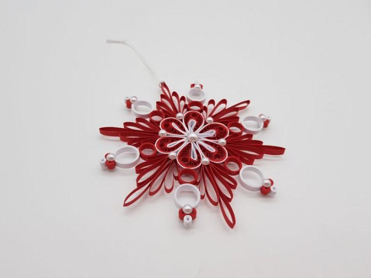"Ornament ""Schneeflocke No. 3"" (Rot/Weiß) - Quilling -"