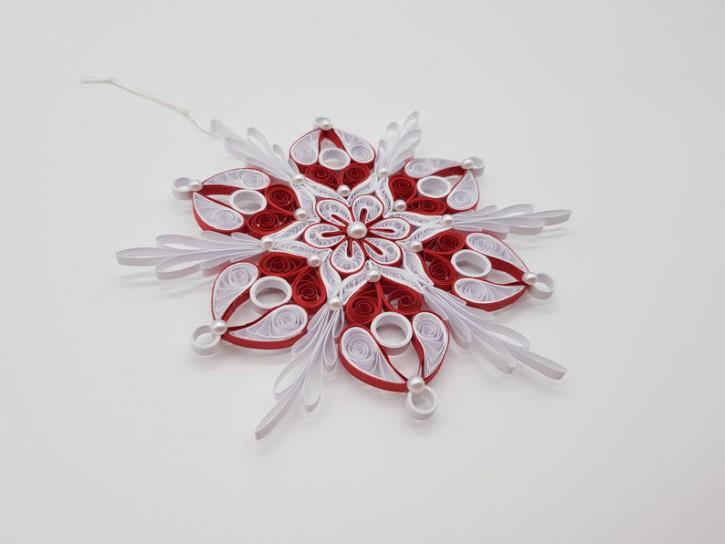 "Ornament ""Schneeflocke No. 4"" (Weiß/Rot) - Quilling -"