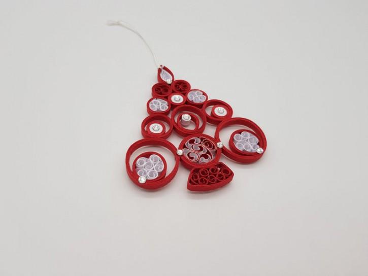 "Ornament ""Tannenbaum"" (Rot/Weiß) - Quilling -"